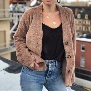 Sweaters - 🆕Arabella Taupe Teddy Cardigan